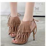 Exposed Fringed Lace Up High Heels - Fashion Genie Boutique