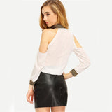Pretty Tears White Cold Shoulder Sequin Cuff & Collar Top - Fashion Genie Boutique