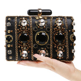 Elena Black Beaded Rhinestone Embellished Clutch Bag - Fashion Genie Boutique