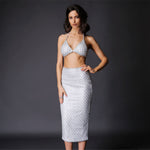 Under The Radar Silver Glitter Bralet & Midi Skirt Co Ord - Fashion Genie Boutique