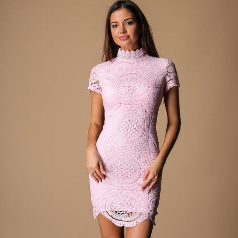 Make It Count Pink Lace Mini Dress - Fashion Genie Boutique