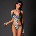 Hoola Goodness Silver Sequin Monokini Swimsuit - Fashion Genie Boutique