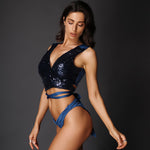 Pina Colada Navy Cut Out Sequin Swimsuit - Fashion Genie Boutique