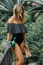 Caribbean Bliss Bardot Swimsuit - Fashion Genie Boutique