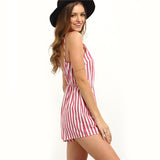 Brenda Red Stiped Playsuit - Fashion Genie Boutique