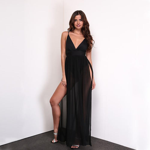 Flower of Love Black Double Split Maxi Dress - Fashion Genie Boutique