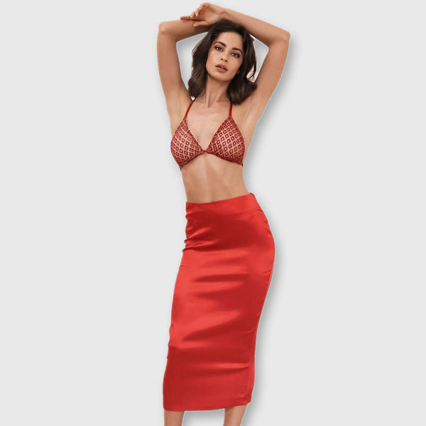 Always Mine Red Sequin Bralet & Midi Skirt Co-Ord - Fashion Genie Boutique