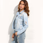 Delaney Light Blue Shredded Back Denim Jacket - Fashion Genie Boutique