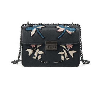 Embroidered Black Chain Crossbody Handbag - Fashion Genie Boutique