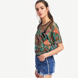 Aymeline Black Mesh Floral Embroidered T-Shirt - Fashion Genie Boutique