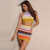 Cafe Society Multi Striped Crop Top & Mini Skirt Dress - Fashion Genie Boutique