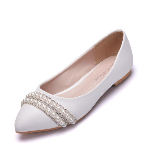 Fashionista White Pearl Embellished Pumps - Fashion Genie Boutique