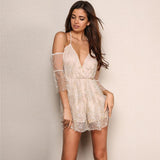 Dazzling Doll Gold Glitter Cold Shoulder Wrap Playsuit - Fashion Genie Boutique