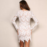 Wild Roses White Lace Long Sleeve Mini Dress - Fashion Genie Boutique