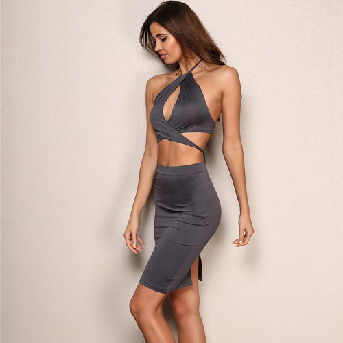 Bold And Bossy Grey Cut Out Halterneck Bandage Mini Dress - Fashion Genie Boutique