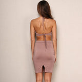 Bold And Bossy Pink Blush Cut Out Halterneck Bandage Mini Dress - Fashion Genie Boutique