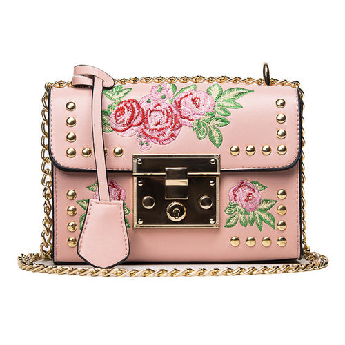 Rose Embroidered Black Chain Crossbody Handbag - Fashion Genie Boutique