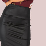 Pencil Me In Black Faux Leather Midi Skirt - Fashion Genie Boutique