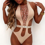 Halki Beige Crystal Embellished Monokini Swimsuit - Fashion Genie Boutique