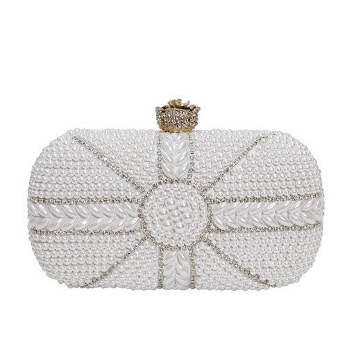 Marie White Pearl Beaded Clutch Bag - Fashion Genie Boutique