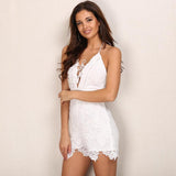 Lace Lover White Crochet Lace Up Playsuit - Fashion Genie Boutique