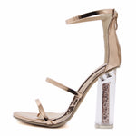 Luxe Soiree Gold Glitter Strappy Heels - Fashion Genie Boutique