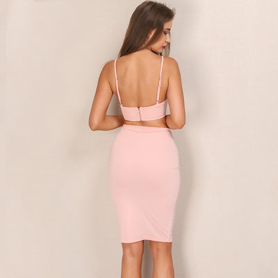 Voodoo Baby Pink Crop Top & Mini Skirt Co-Ord - Fashion Genie Boutique