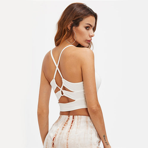 Botelli White Cross Back Crop Top - Fashion Genie Boutique