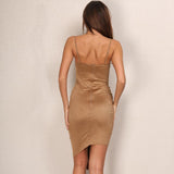 Weekend Girl Tan Slinky Mini Dress - Fashion Genie Boutique