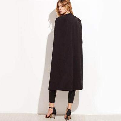 Day by Day Black Longline Cape Split Sleeve Blazer - Fashion Genie Boutique