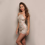 Vegas Volt Gold Embroidered Playsuit - Fashion Genie Boutique