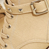 Lady Tan Studded Lace-up Round Toe Women's Ankle Boots - Fashion Genie Boutique