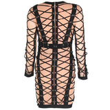 Attention Please Black and Nude Long Sleeve Mini Dress - Fashion Genie Boutique