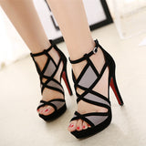 All Time High Grey & Black Cut Out Heels - Fashion Genie Boutique