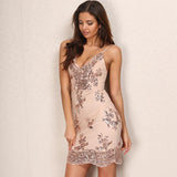 Girl Next Door Rose Gold Sequin Mini Dress - Fashion Genie Boutique