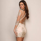 Sparkle Delight Gold Embroidered Mini Dress - Fashion Genie Boutique