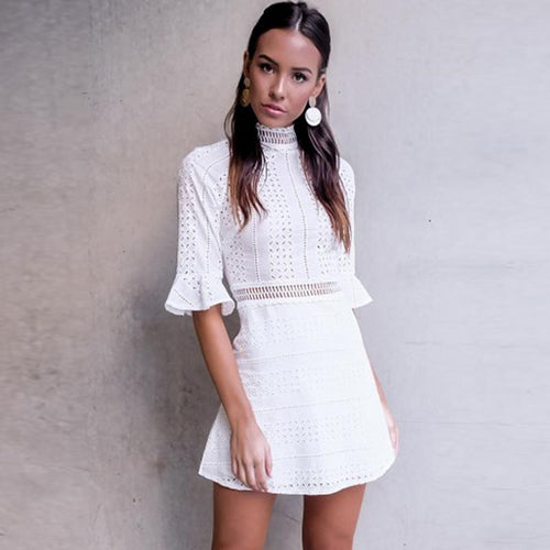 City Sleek White Mini Dress - Fashion Genie Boutique