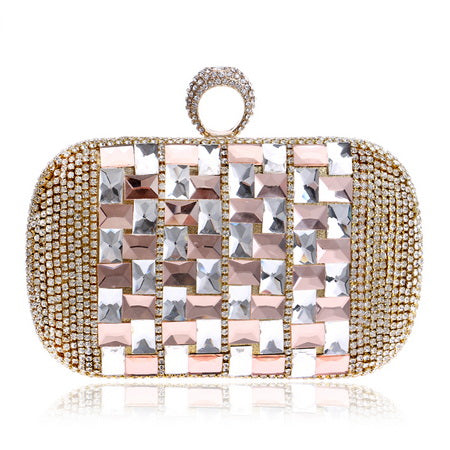 Annie Rose Gold Rhinestone Embellished Clutch Bag - Fashion Genie Boutique