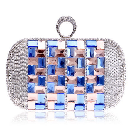 Annie Blue Rose Gold Rhinestone Embellished Clutch Bag - Fashion Genie Boutique