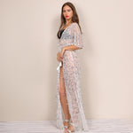 Sunset Strip White Sequin Tassle Kaftan - Fashion Genie Boutique