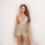 Glasto Glam Gold Glitter Embellished Playsuit - Fashion Genie Boutique