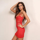 Scandalize Red Panel Bandage Mini Dress - Fashion Genie Boutique