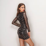 Fashion Flirt Black & Gold Sequin Long Sleeve Mini Dress - Fashion Genie Boutique
