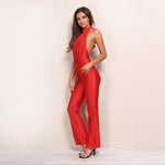 Milano Red Halterneck Jumpsuit - Fashion Genie Boutique