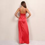 Flash Back Red Slinky Double Split Maxi Dress - Fashion Genie Boutique