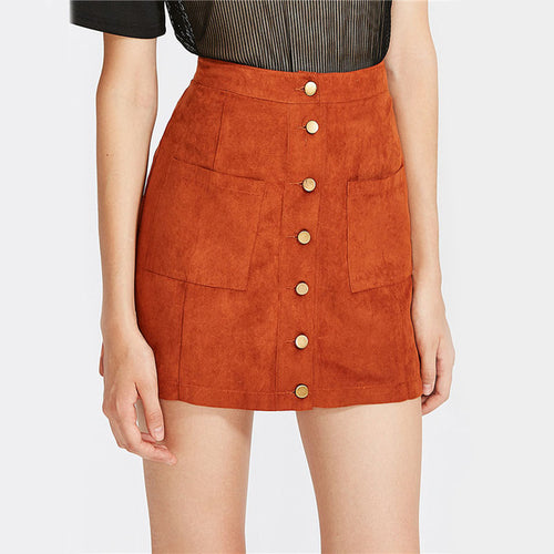 Little Daisies Tangerine Button-Front Mini Skirt - Fashion Genie Boutique