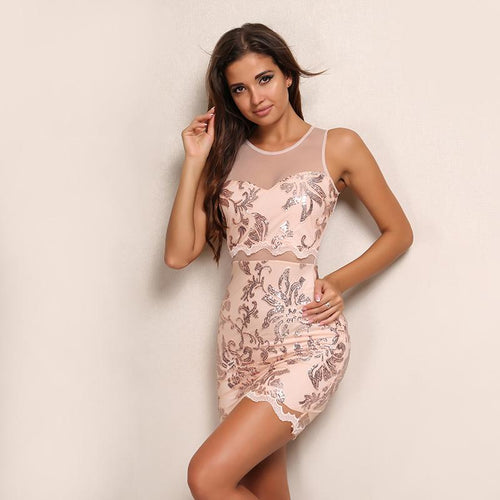 Champagne On Ice Rose Gold Sequin Mini Dress - Fashion Genie Boutique