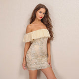 Best Life Nude & Gold Bardot Embroidered Mini Dress - Fashion Genie Boutique