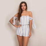 Tamika Blue And White Stripe Bardot Playsuit - Fashion Genie Boutique