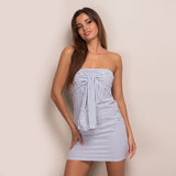 Sunny Sweetheart Blue & White Stripe Strapless Dress - Fashion Genie Boutique